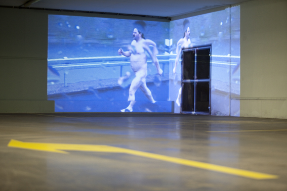 Video-installatie Cinquante Fifty in parkeergarage Erasmusbrug, foto Jannes Linders