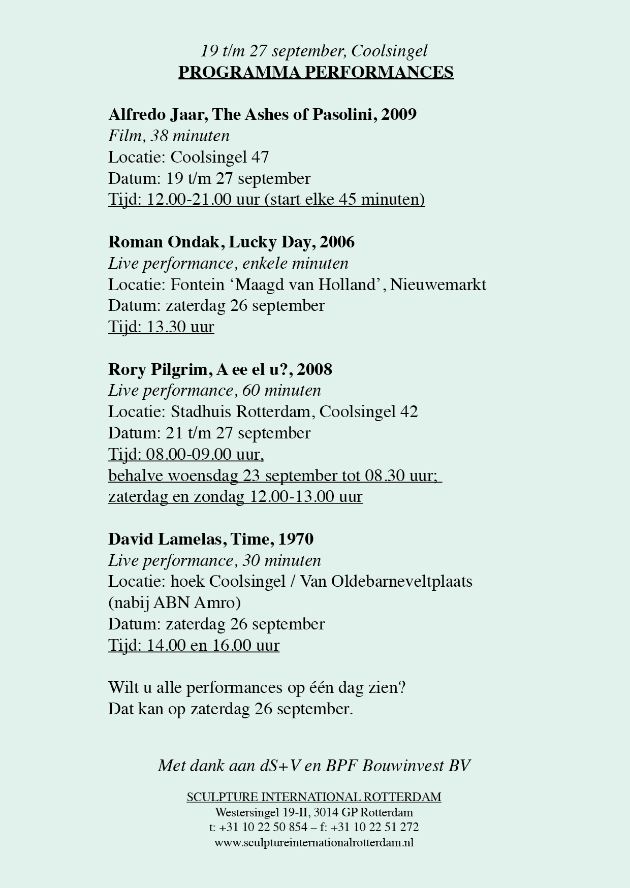 programma performances